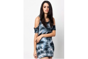 Grey Tie Dye Cold Shoulder T-Shirt Dress