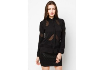 LASH Eve Long Sleeve Shirt with Mesh Details