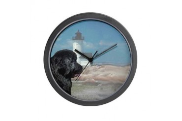 black newf portrait Pets Wall Clock by CafePress