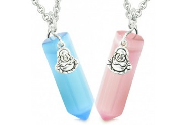 Happy buddha love couples points amulets pink cats eye necklaces happy buddha love couples points amulets pink cats eye necklaces price comparison mozeypictures Images