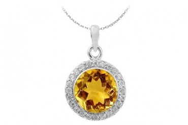November Round Citrine and Cubic Zirconia in Sterling Silver Halo Pendant