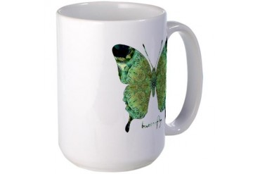 Viable Green Butterfly Cool Large Mug by CafePress