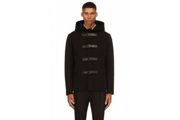 Neil Barrett Black Neoprene Duffle Coat