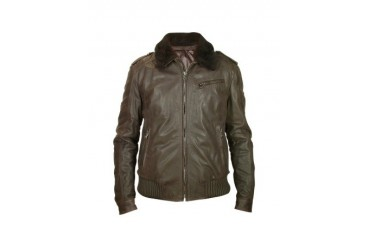 Men's Dark Brown Shearling Collar Bomber Leather Jacket