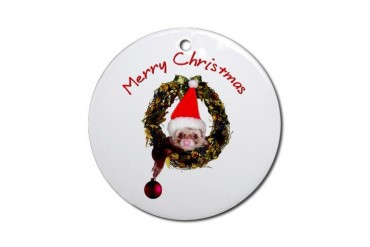 Ferret Ornament Round Christmas Round Ornament by CafePress