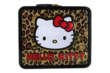 Hello Kitty Leopard Print Metal Lunch Box