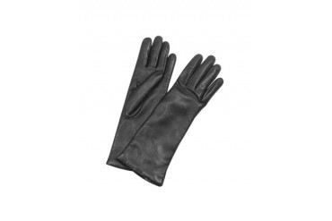 Women's Cashmere Lined Black Italian Leather Long Gloves