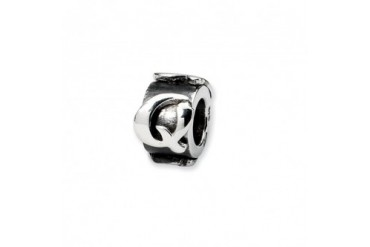 Letter Q, Alphabet Charm in Sterling Silver For 3mm Charm Bracelets