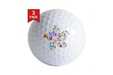 White Star Flower Rainbow Golf Balls by CafePress
