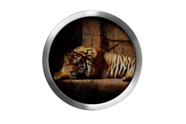 Sleeping Tiger Animal Modern Wall Clock by CafePress
