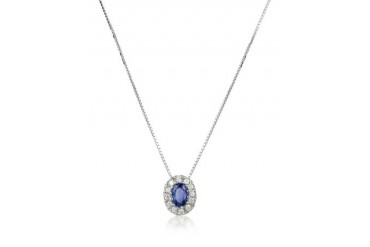 Diamond and Sapphire Round 18K Gold Pendant Necklace