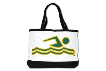 Green and Gold Swimming Swimming Shoulder Bag by CafePress