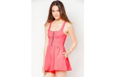 Material Girl Neon Punch Textured Bustier Playsuit