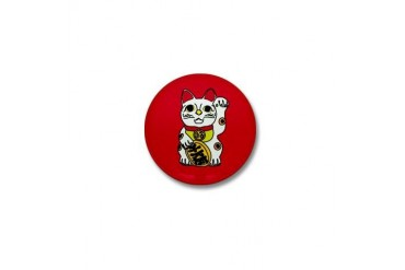 maneki neko lucky cat Retro Mini Button by CafePress