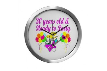 HAPPY 30TH BIRTHDAY 30th birthday Modern Wall Clock by CafePress