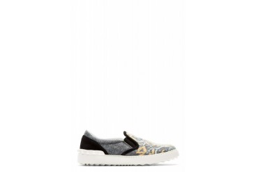 Valentino Grey Embroidered Leo Zodiac Slip on Shoes