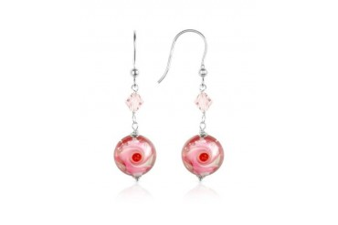 Vortice - Pink Swirling Murano Glass Bead Earrings