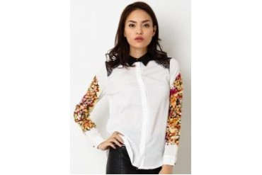Urban Twist Lace Cut Shoulder LS Shirt