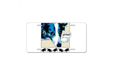 border collie got sheep2a.png Aluminum License Pla Pets Aluminum License Plate by CafePress