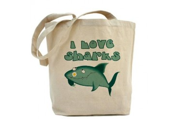 I Love Sharks Cute Tote Bag by CafePress