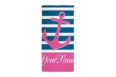 Anchor Elegant Stripe Personalized Beach Towel