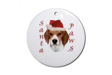 Santa Paws Beagle Ornament Round Pets Round Ornament by CafePress
