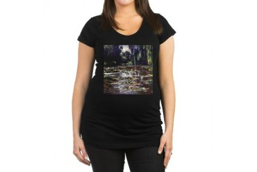 Claude Monet Water Lilies Vintage Maternity Dark T-Shirt by CafePress