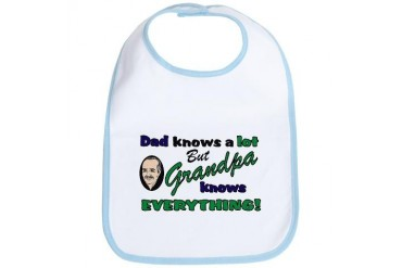 Grandpa Knows Everything Funny Bib by CafePress