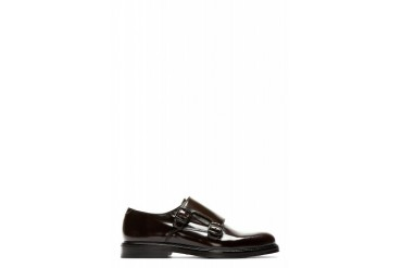 Carven Dark Brown Leather Monk Strap Shoes