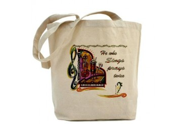 He Who Sings Prays Twice Music Tote Bag by CafePress
