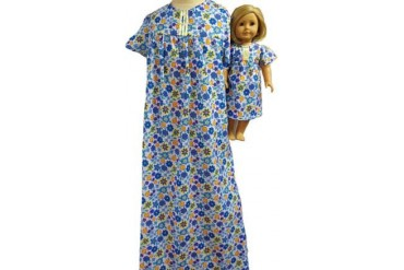 Matching Doll amp Girl Clothes Blue Floral Sleepwear Size 8