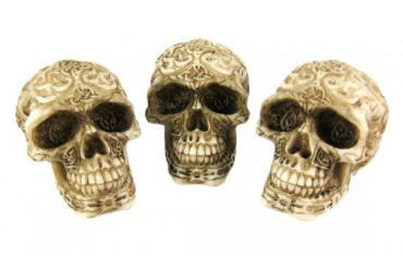 Cool Human Skull Paperweight Figurine - Tribal Design
