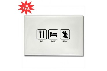 Eat Sleep Ninja Funny Rectangle Magnet 10 pack by CafePress