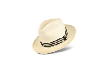 Beige and Blue Stripe Band Real Panama Hat