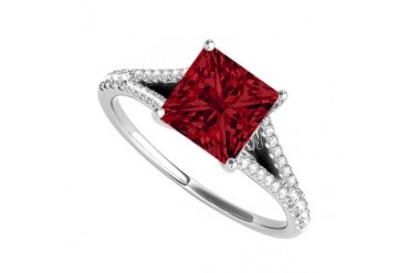 Princess Cut Ruby Diamonds Engagement Ring in 14K Gold