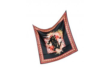 Black and Red Signature Silk Square Scarf