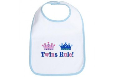 Twins Rule Girl Boy Family Bib by CafePress