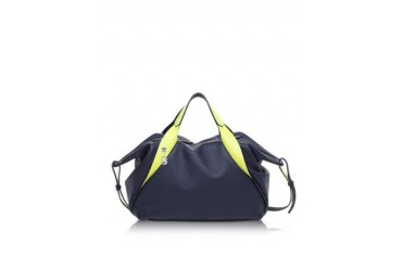 Sorbonne Dark Blue and Neon Yellow Leather Satchel