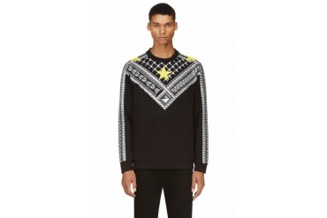 Givenchy Grey And Yellow Geometric Stars Sweatshirt