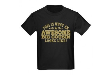 Awesome Big Cousin Kids Dark T-Shirt