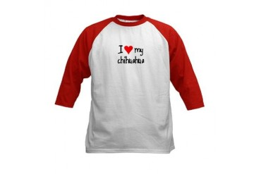 I LOVE MY Chihuahua Pets Kids Baseball Jersey by CafePress