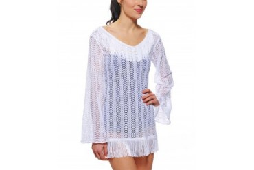 Pily Q 'Giovanna' Open Front Fringe Cover Up Tunic White, Xs/S