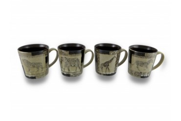 Set of 4 Animal Safari Beige and Brown Glazed Ceramic Coffee Tea Mugs