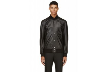 Givenchy Black Leather Star Bomber Jacket