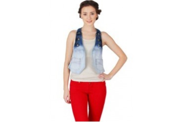 Cosmopolite Ombre Wash Jeans With Button Vest