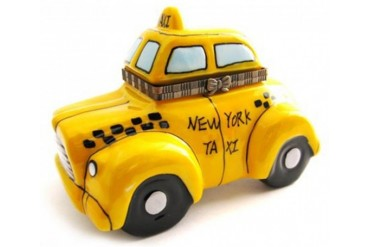 New York Yellow NY Taxi Cab Cabbie Driver Porcelain Hinged Trinket Box phb