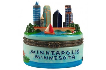 Minnessota Minneapolis Skyline Porcelain Hinged Trinket Box phb