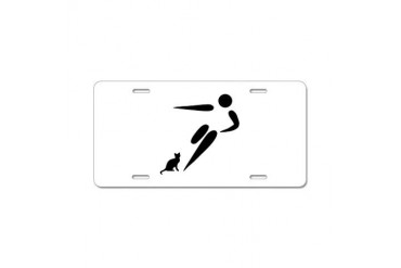 Kick Cat Funny Aluminum License Plate by CafePress