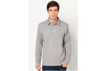 Amnig Essential Button Collar Long Sleeve Polo