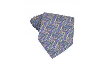 Purple and Gray Abstract Design Silk Tie
